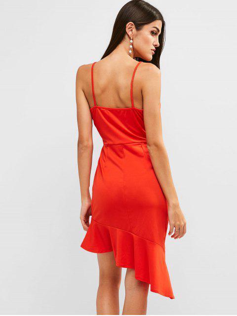 Robe Asymétrique à Bretelle à Volants - Rouge M Mobile