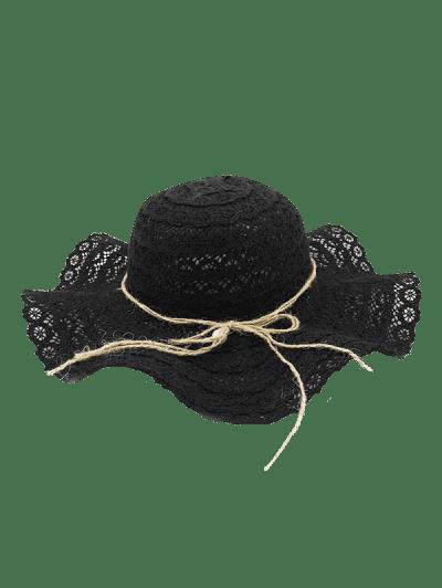57db90c04d66a ... Flouncing Lace Decoration Bucket Hat - Black