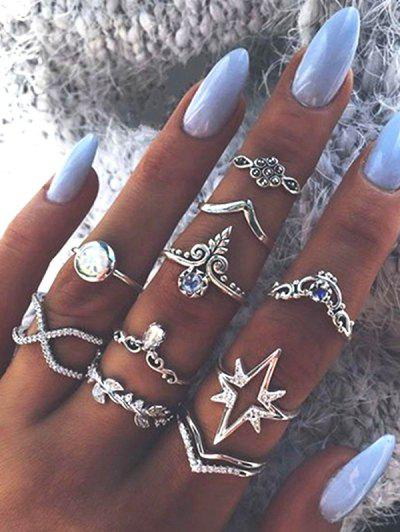 Ten Piece Simple Diamante Ring Set - Silver
