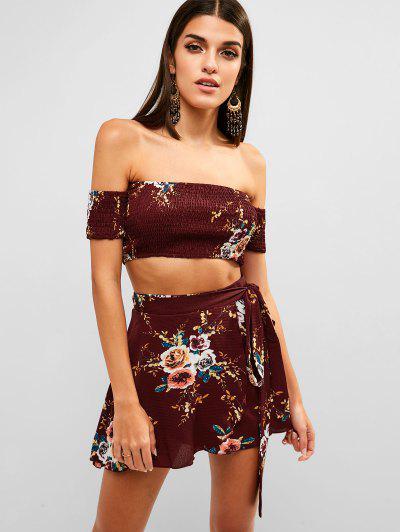 accc087e71 Floral Smocked Off Shoulder Wrap Skirt Set - Red - Red L