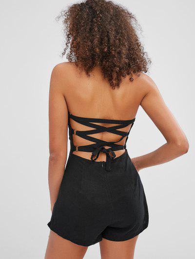 ZAFUL Back Lace-up Bandeau Romper - Black S