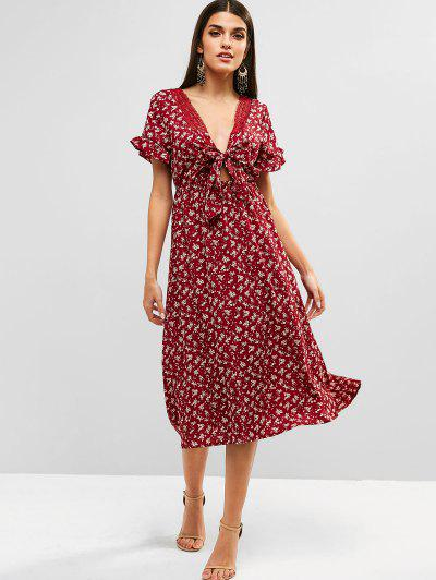 4e44c08be69 Knot Front Floral Tea Dress - Red Wine L ...