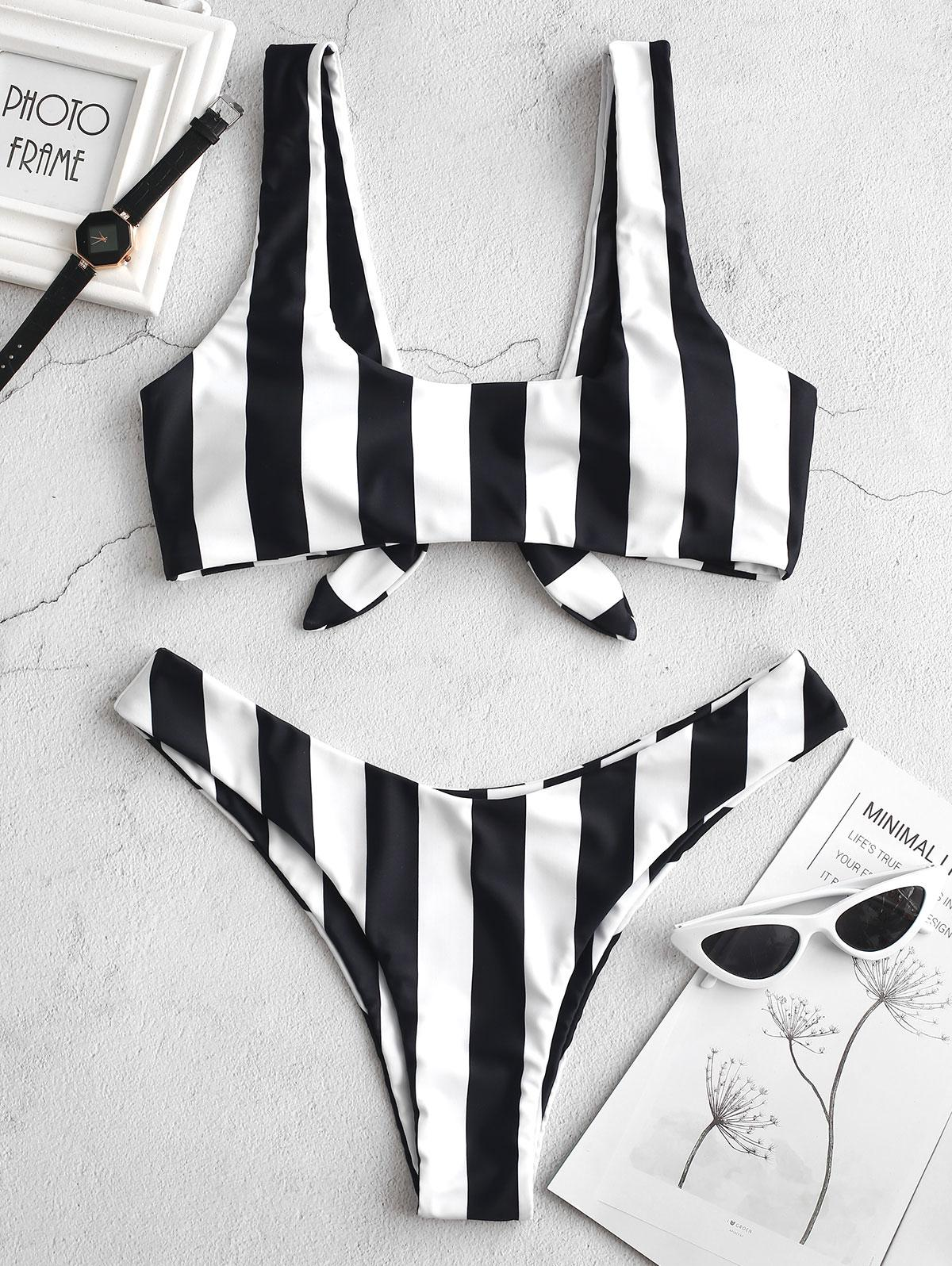 ZAFUL Knot Striped Bikini Set thumbnail