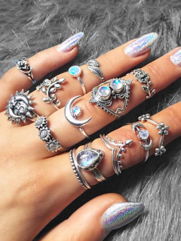 14 Piece Ethnic Moon Star Ring Set, Silver