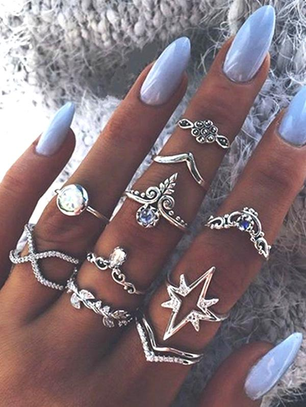 Ten Piece Simple Diamante Ring Set