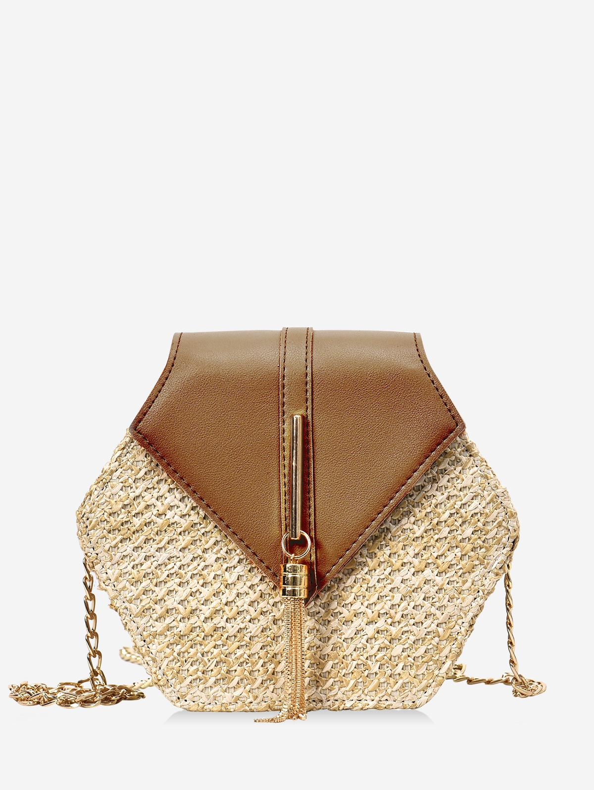 Fringed Geometric Straw Crossbody Bag, Brown