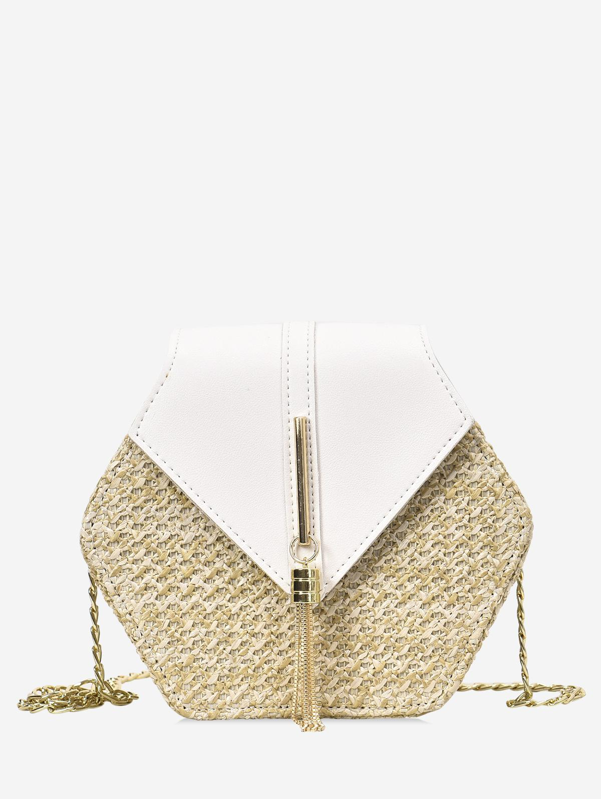 Fringed Geometric Straw Crossbody Bag, White