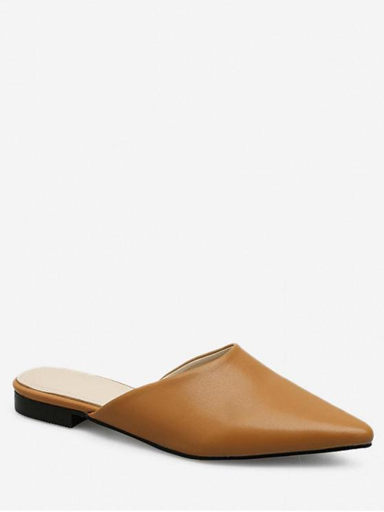 fashion Pointed Head Flat Mules - LIGHT BROWN EU 37