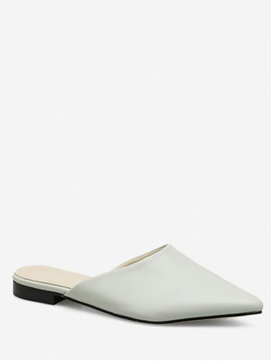 women Pointed Head Flat Mules - WHITE EU 38