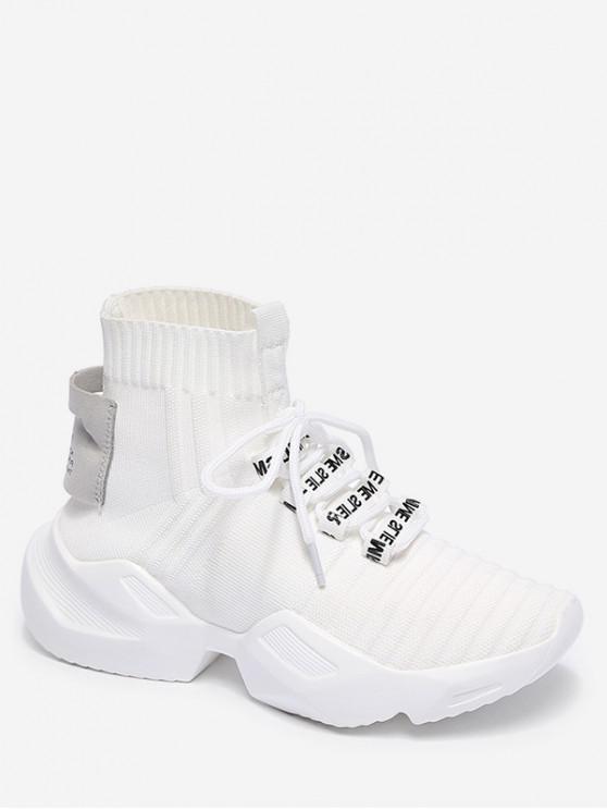 shop High Top Knit Mesh Sports Shoes - WHITE EU 37