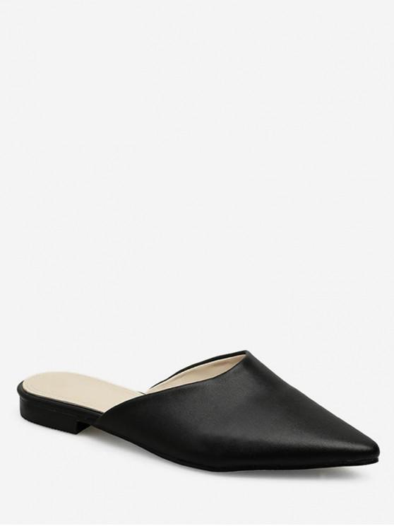 trendy Pointed Head Flat Mules - BLACK EU 37