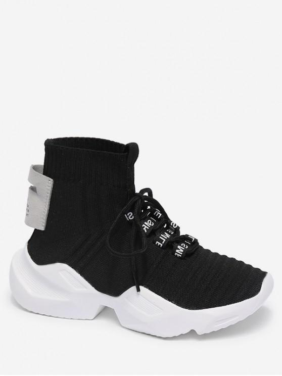 women High Top Knit Mesh Sports Shoes - BLACK EU 35