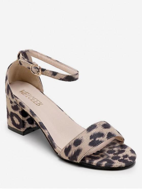 lady Mid Heel Buckled Leopard Print Sandals - APRICOT EU 36