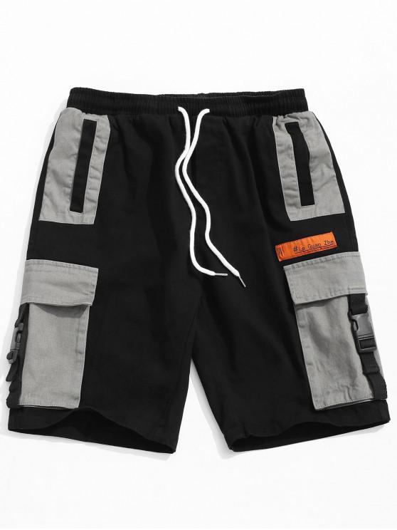 women Color Block Buckle Pocket Cargo Shorts - BLACK 2XL