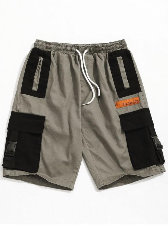 best Color Block Buckle Pocket Cargo Shorts - GRAY CLOUD L
