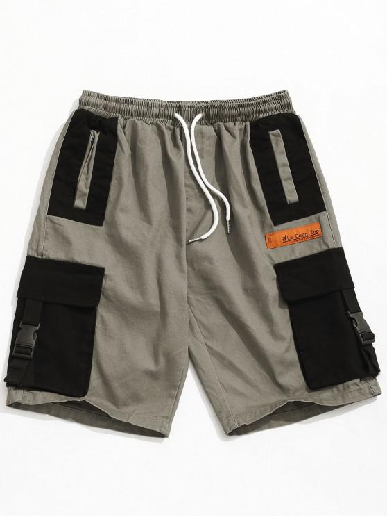 new Color Block Buckle Pocket Cargo Shorts - GRAY CLOUD 2XL