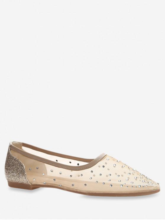 shop Pointed Toe Sheer Mesh Flats - GOLD EU 38