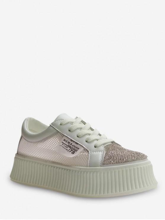 shops Applique Mesh Panel Flat Platform Shoes - BEIGE EU 39
