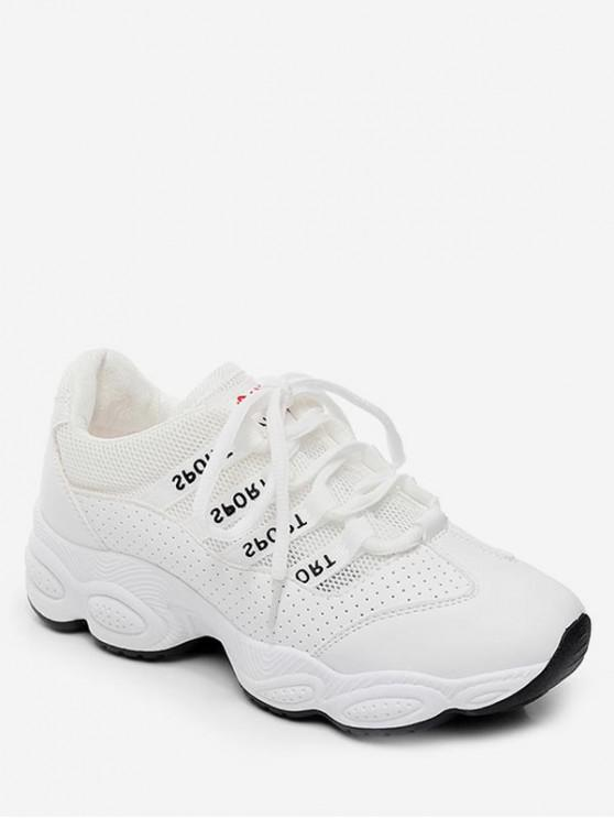 women Breathable Patch Sports Shoes - WHITE EU 35