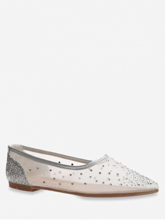 hot Pointed Toe Sheer Mesh Flats - SILVER EU 37