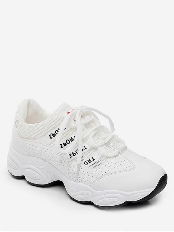sale Breathable Patch Sports Shoes - WHITE EU 38