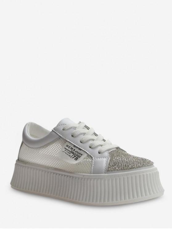 women Applique Mesh Panel Flat Platform Shoes - WHITE EU 38