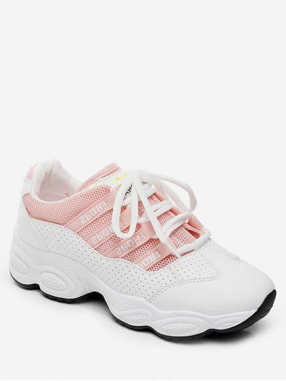 trendy Breathable Patch Sports Shoes - PINK EU 40