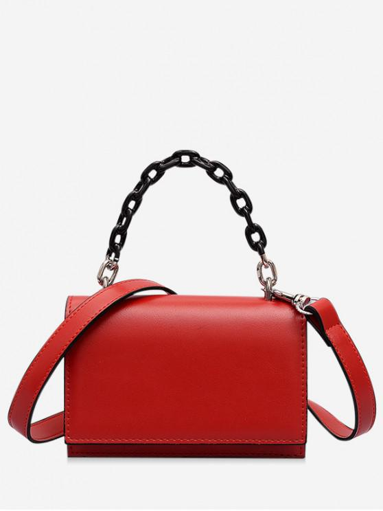 shop Rectangle Cover Chain Handbag - RED