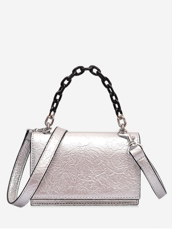 sale Rectangle Cover Chain Handbag - SILVER