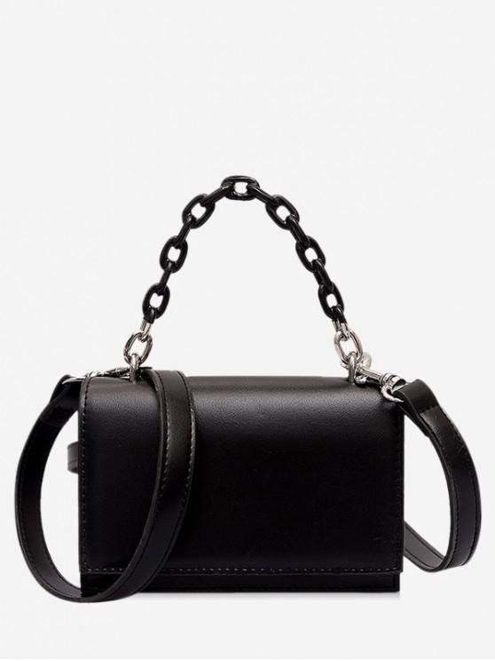 buy Rectangle Cover Chain Handbag - BLACK