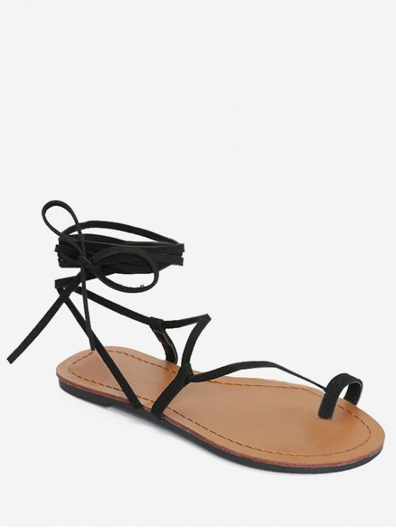 63c3ad3f3048 10% OFF   NEW  2019 Flat Tie Up Gladiator Sandals In BLACK