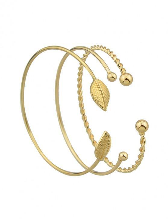 trendy 3Pcs Leaf Open Cuff Bracelet Set - GOLD