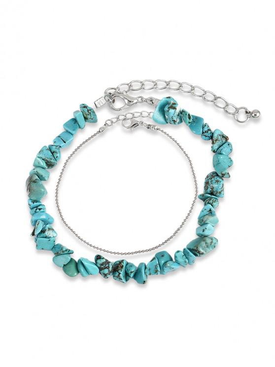 chic 2Pcs Beaded Turquoise Anklet Set - MULTI-A