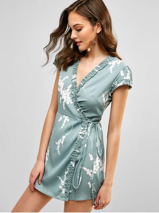 fashion Floral Cap Sleeve Wrap Mini Dress - GREEN XL