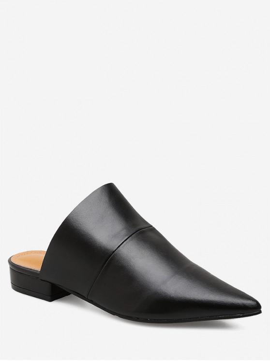 women Pointed Toe Flat Heel Mules - BLACK EU 36