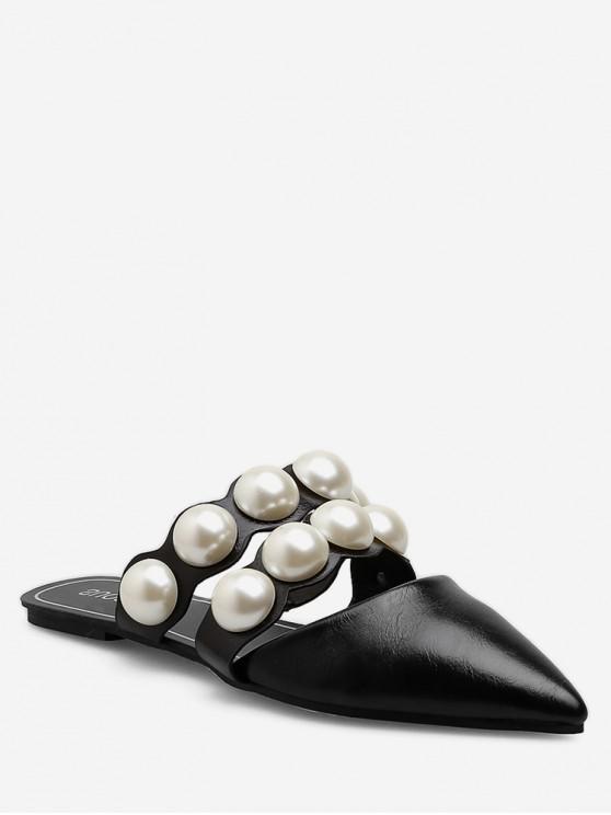 lady Flat Heel Pearl Decorated Mules - BLACK EU 37