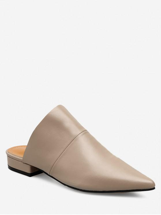 fancy Pointed Toe Flat Heel Mules - APRICOT EU 35