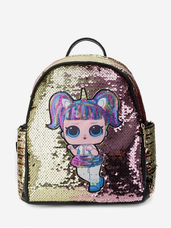 sale Paillette Girl Pattern Backpack - MULTI-A