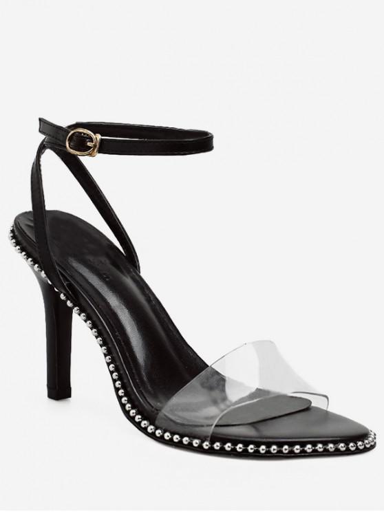 Bead Studded Stiletto Heel Sandals BLACK WHITE
