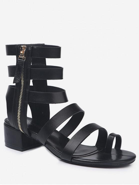 fancy Toe Loop Low Heel Gladiator Sandals - BLACK EU 39