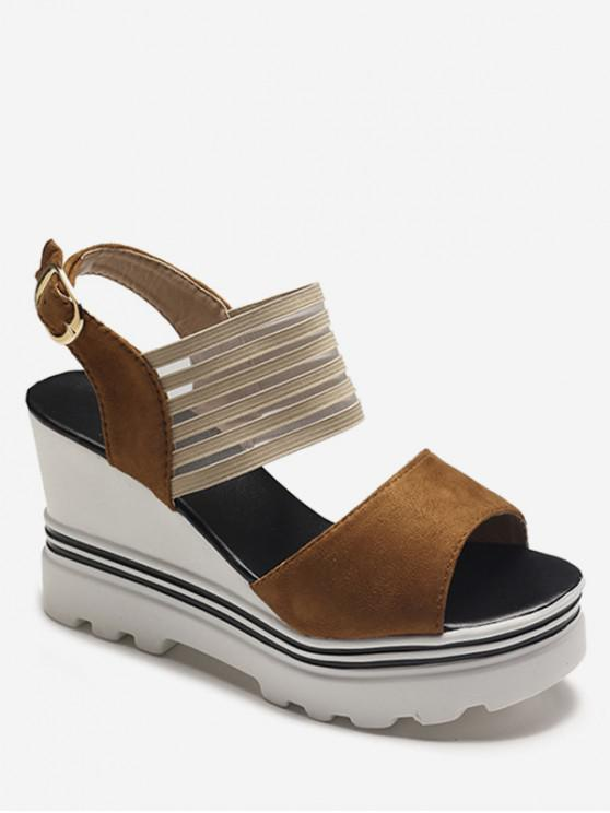 sale Wedge High Heel Suede Sandals - BROWN EU 35