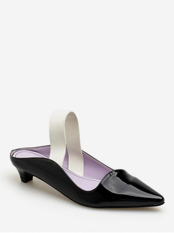 buy Medium Heel Pointed Toe Sandal - BLACK EU 38