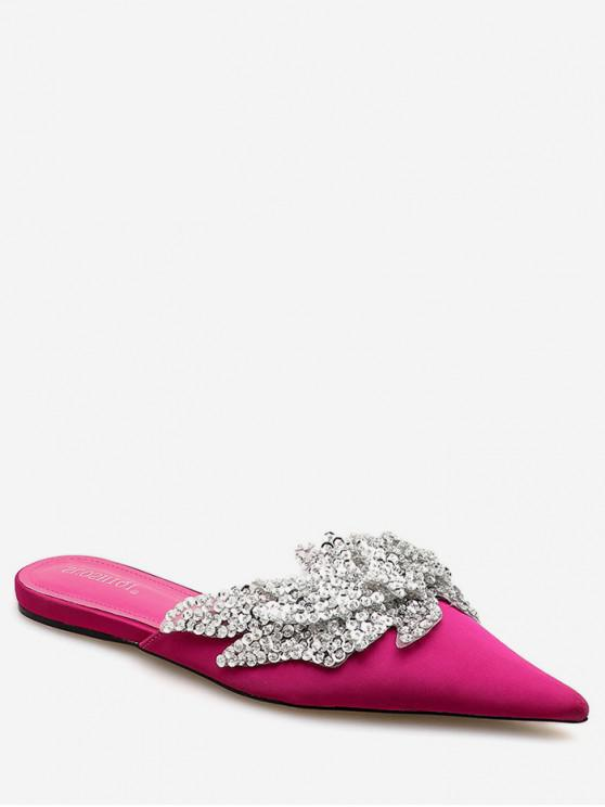 womens Pointed Toe Sequined Flat Slides - NEON PINK EU 39