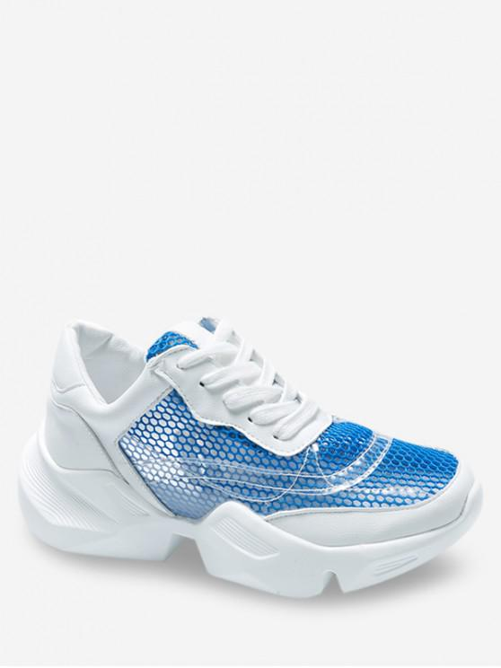hot Breathable Mesh Lace-up Sneakers - BLUE EU 38