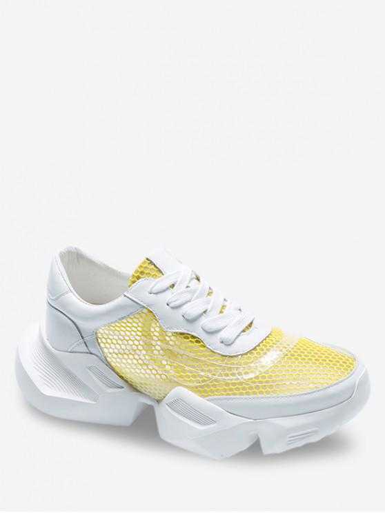 fancy Breathable Mesh Lace-up Sneakers - YELLOW EU 37
