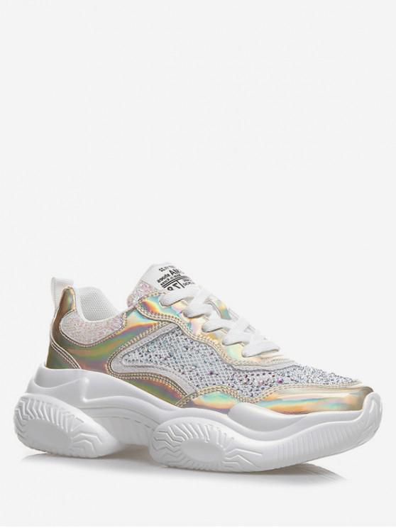 unique Breathable Mesh Rhinestone Sneakers - GOLD EU 35