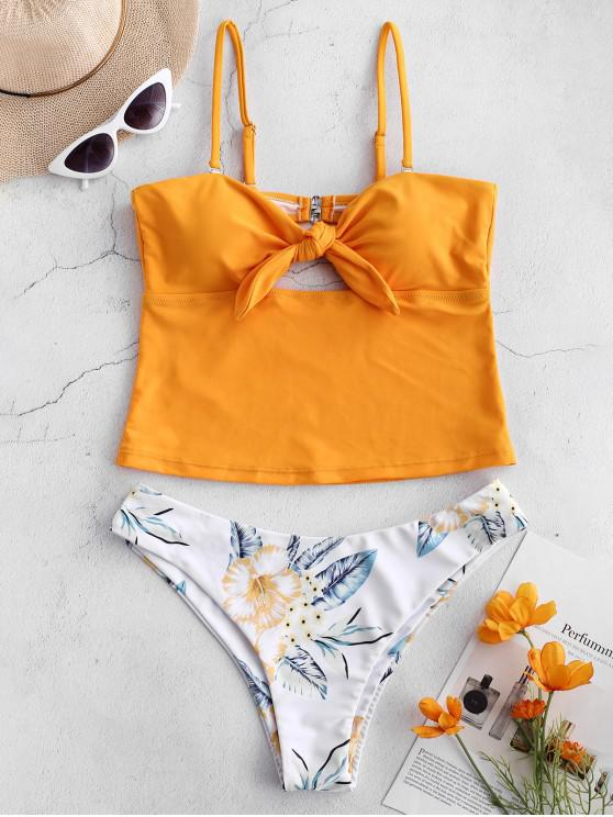 latest ZAFUL Plant Print Knot Bandeau Tankini Set - BRIGHT YELLOW S