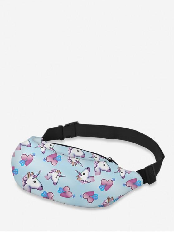 trendy Crossbody Animal Print Waist Bag - LIGHT SKY BLUE