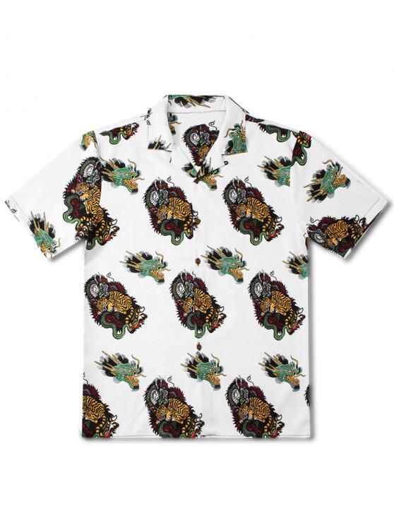 Kurzärmliges Hemd mit Drachen- und Tigermuster - Weiß XL