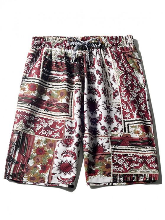 online Floral Tribal Print Casual Beach Shorts - BLOOD RED S